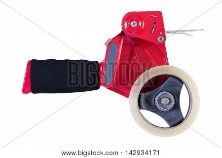 Side view on single red and black heavy industrial duty loaded tape dispenser over isolated white background