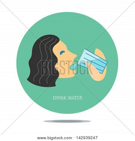 Conceptual stylized sign with person drinking water