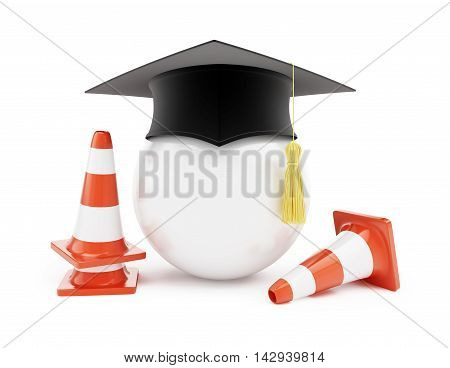 Car driving schools traffic cones road construction on a white background. 3d Illustrations