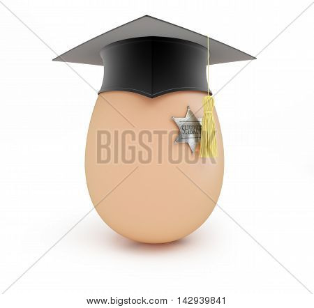 sheriff school egg sheriff graduation cap 3D illustration