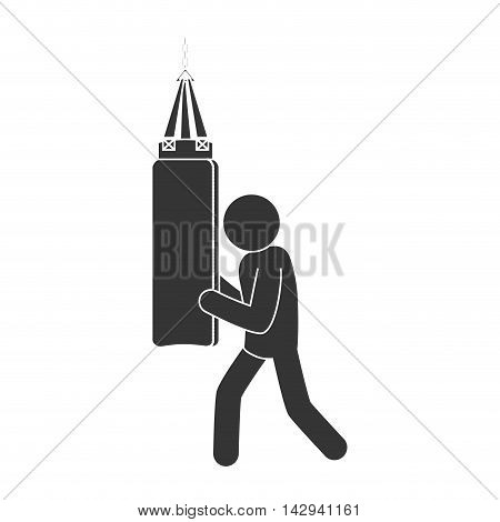punching sack boxing training fighting hit knockout vector illustration isolated