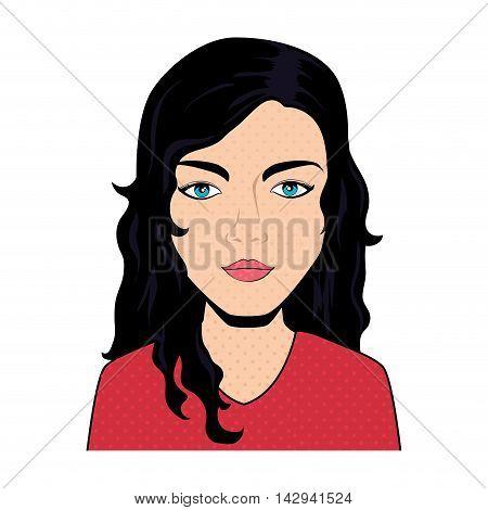 women pop art female face beauty femenine vintage vector illustration isolated