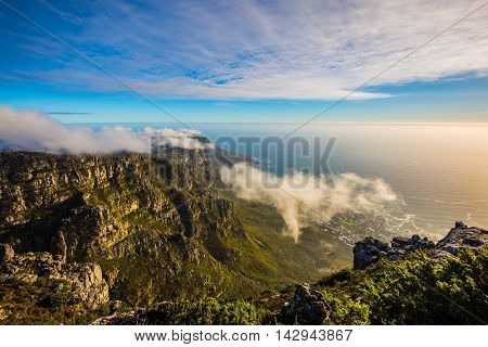 National Park Table Mountain South Africa, Cape Town. View of the Atlantic Ocean in a great day in April