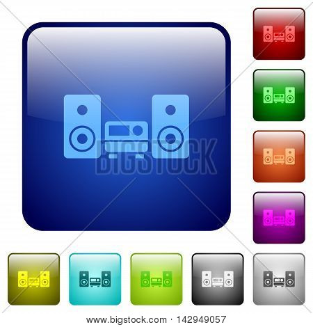 Set of hifi color glass rounded square buttons