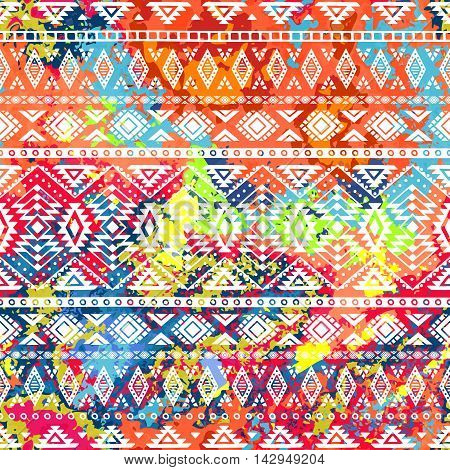 Bright ethnic pattern. Geometric striped background. Tribal motifs. Spot colors - background. Vector illustration.