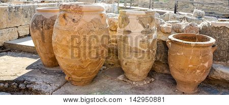 Amphorae from the Knossos Palace in Crete in amazing Greece