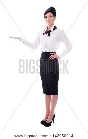 Portrait Of Welcoming Stewardess Isolated On White