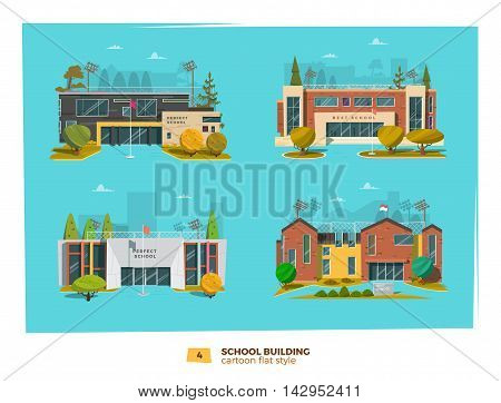 Four school building in flat cartoon style.