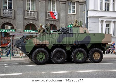 Warsaw, Poland - August 15, 2016: Polish combat vehicle during the feast of the Polish Army on August 15, 2016 in Warsaw in Poland