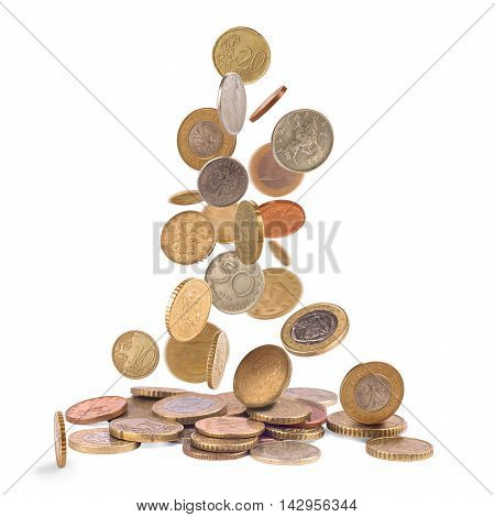 Heap of falling british coins isolated on white