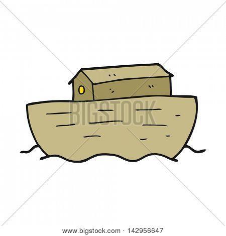 freehand drawn cartoon noah's ark