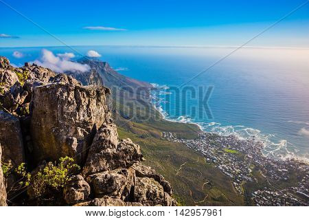 National Park Table Mountain, South Africa, Cape Town. Top view of the Atlantic Ocean