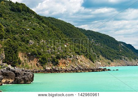 Coastline in the Gulf of La Spezia (The Gulf of Poets) in Tellaro near Lerici. Liguria Italy Europe