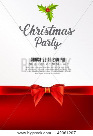 Christmas Party lettering. Christmas invitation with mistletoe and bow. Sample text. Handwritten text, calligraphy. For tickets, posters, banners, leaflets and brochure.
