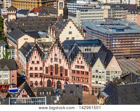 High dynamic range HDR Roemerberg old city in Frankfurt am Main Germany poster