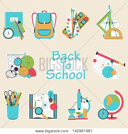 Back to school flat design modern vector illustration background with education icon set. School supplies: schoolbook, notebook, pen, pencil, paints, stationary, ball, school bag etc.