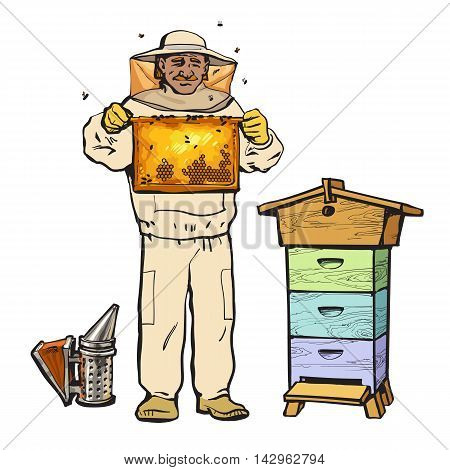 Beekeeper in protective gear holding honeycomb and a smoker, sketch style vector illustration isolated on white background. Apiarist in protective suit working at the apiary