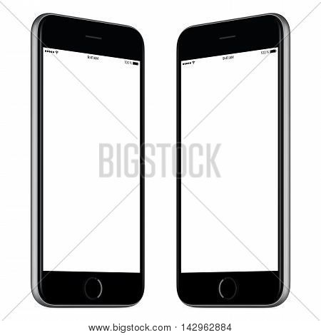 Black mobile smart phone mock-up. This mock-up includes both sides of slightly rotated white smart phone with blank template screen. You can use this mock-up for portfolio or design presentation.