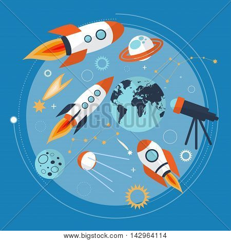 Collection Of Spaceship, Planets And Stars. Cartoon Space Icons. Hand Drawn. Vector