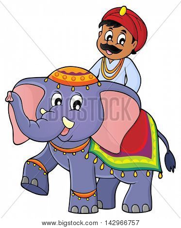 Man travelling on elephant image 1 - eps10 vector illustration.