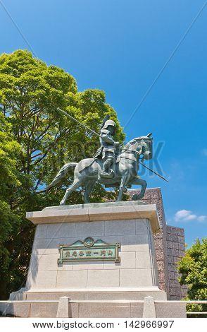 KOCHI JAPAN - JULY 19 2016: Equestrian statue of Yamanouchi Kazatoyo near Kochi castle Japan. Yamanouchi Kazatoyo was the founder of Kochi castle (1601)