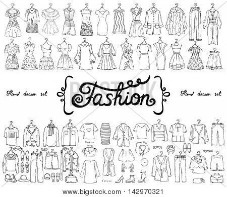 Vector set with hand drawn isolated doodles on the theme of fashion. Flat illustrations of women's and men's fashionable clothes. Sketches for use in design