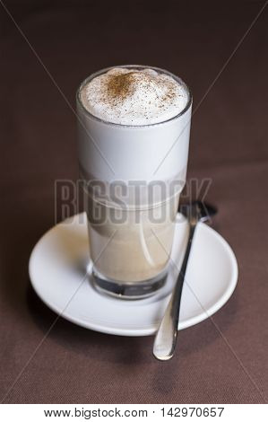 Latte Coffee or caffe latte in tall latte glasses