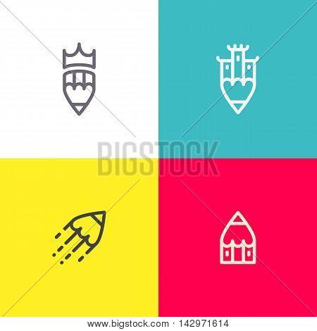 Artistic logo set. Line art illustration. Applicable for chancellery,stationary,art studio etc. Eps10 vector illustration.