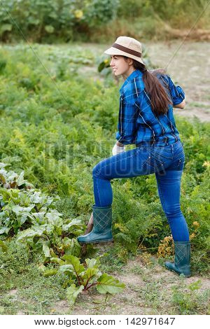 Harvesting. Girl farmer with spade in the vegetable garden. Young woman harvesting beetroot on the field. Woman digging out beetroot with spade. Autumn harvest