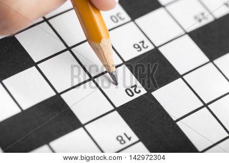 Solving Crossword Puzzle Close up