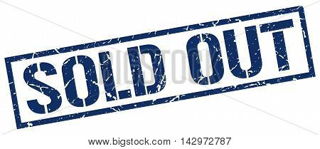 sold out stamp. blue grunge square isolated sign