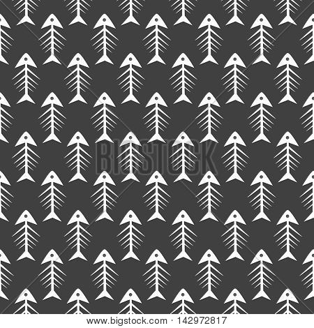 Fishbone monochrome seamless vector pattern. Black and white fish bone textile pattern design.