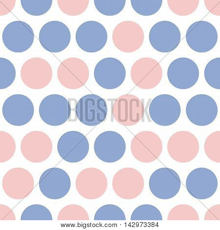 Dotted seamless pattern vector, pink and blue dots. Vector geometricbackground with big polka dot