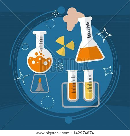 School Chemistry. The Tubes In The Fire. Radiation And Propagation Of Molecules. Vector
