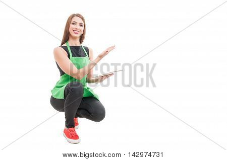 Smiling Storekeeper With Tablet Showing Something