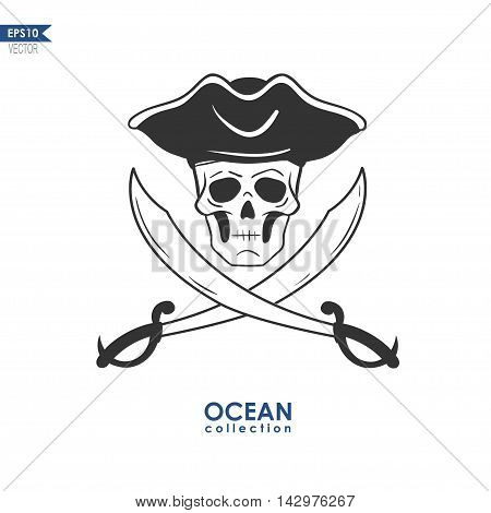 skull in a pirate hat with crossed swords, vector illustration