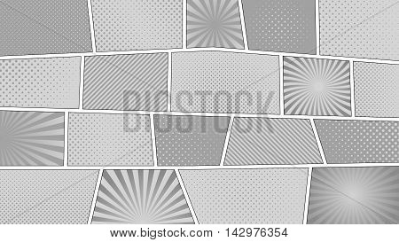 Comic strip monochrome background with 16 9 aspect ratio. Different colorful panels. Rays, lines, dots. Template, vector eps 10