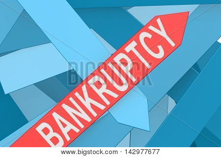 Bankruptcy blue arrow pointing upward 3d rendering poster