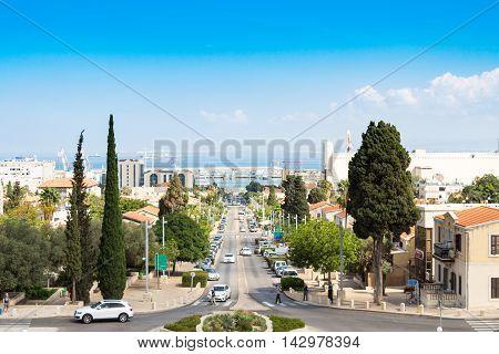 Haifa, Ben-Gurion avenue in Haifa and view of the port