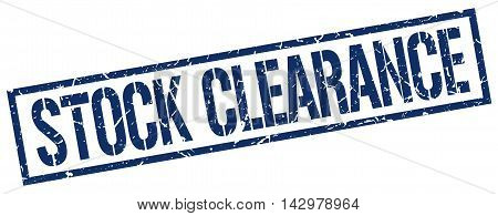 stock clearance stamp. blue grunge square isolated sign