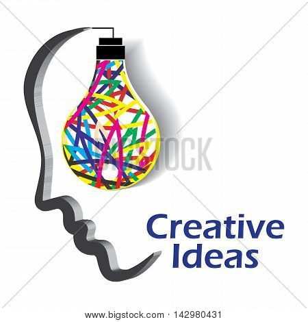 Light bulb illustrated as a glowing idea in human mind.