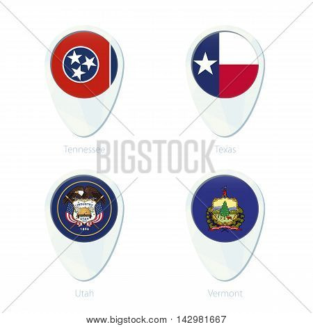 Tennessee, Texas, Utah, Vermont Flag Location Map Pin Icon.