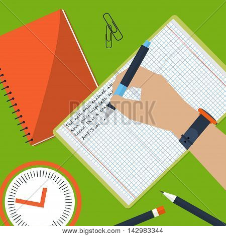 Desktop On Which The Book And The Student Writes An Essay. Homework. Violin  Pencils. Vector