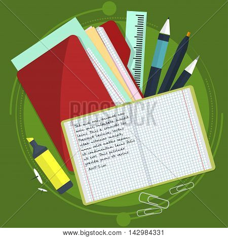 Books And School Process. Writing Drawing In Zoshite. Office Prednadlezhnosti Study Subjects. Back T