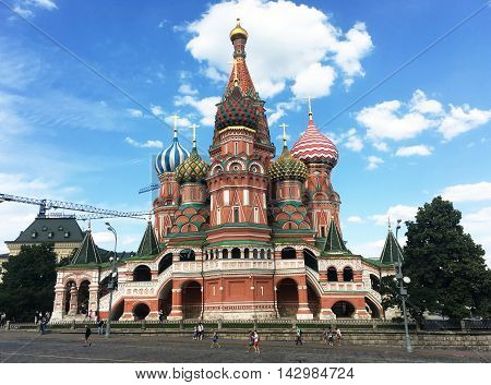 Moscow Russia - June 20 2016: View on St. Basil Cathedral in Moscow