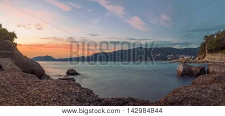 Panoramic view of Agios Gordios village on Corfu coast Greece