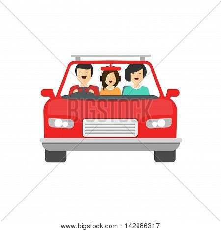 Happy family inside car driving vector illustration isolated on white background, flat cartoon people together drive auto with smiling faces, concept of family trip, journey,