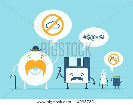 Old memory storages against the cloud data service. Cartoon flat design vector conceptual illustration