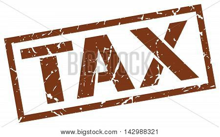 tax stamp. brown grunge square isolated sign