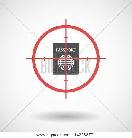 Isolated Line Art Crosshair Icon With  A Passport